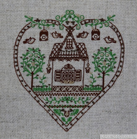 "Вышивка ""Дом там, где ваше сердце"" ручной работы на заказ"