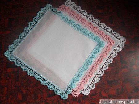 Обшить носовой платок кружевом