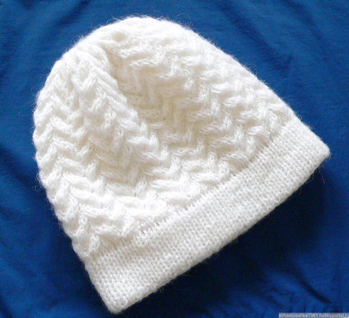 Женская шапка спицами мастер класс