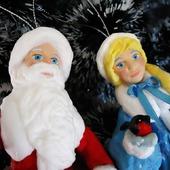 """Ватная игрушка """"Новогодняя пара - Дед Мороз и Снегурочка"""""""
