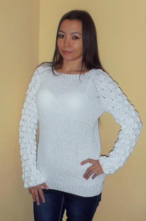 """Пуловер """"Малинки"""" - для примера ручной работы на заказ"""