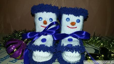 Пинетки-снеговички ручной работы на заказ