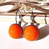 Серьги с чешским стеклом - оранжевые