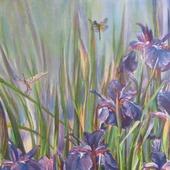 Синие ирисы и стрекозы, картина на шелке