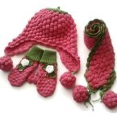 Шапка, шарф и варежки из шерсти. Комплект Малинка