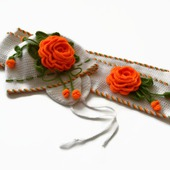 Шапка и шарф из шерсти для девочки. Комплект Оранжевые розы