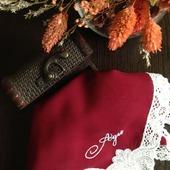 Носовой платок женский Винный батист кружево хлопок монограмма