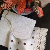 Носовой платок женский Бежевый жаккард кружево хлопок монограмма