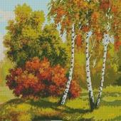 Схема вышивки Осень. Березы у пруда