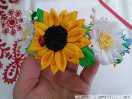 """Ободок """"Полевые цветы"""" ручной работы на заказ"""