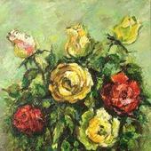 Картина Розы, картон, масло