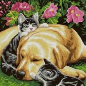 Схема вышивки Собака и котята