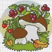 Схема вышивки Грибочки и ягодки