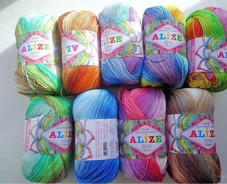 Нитки для вязания ализе меланж 76