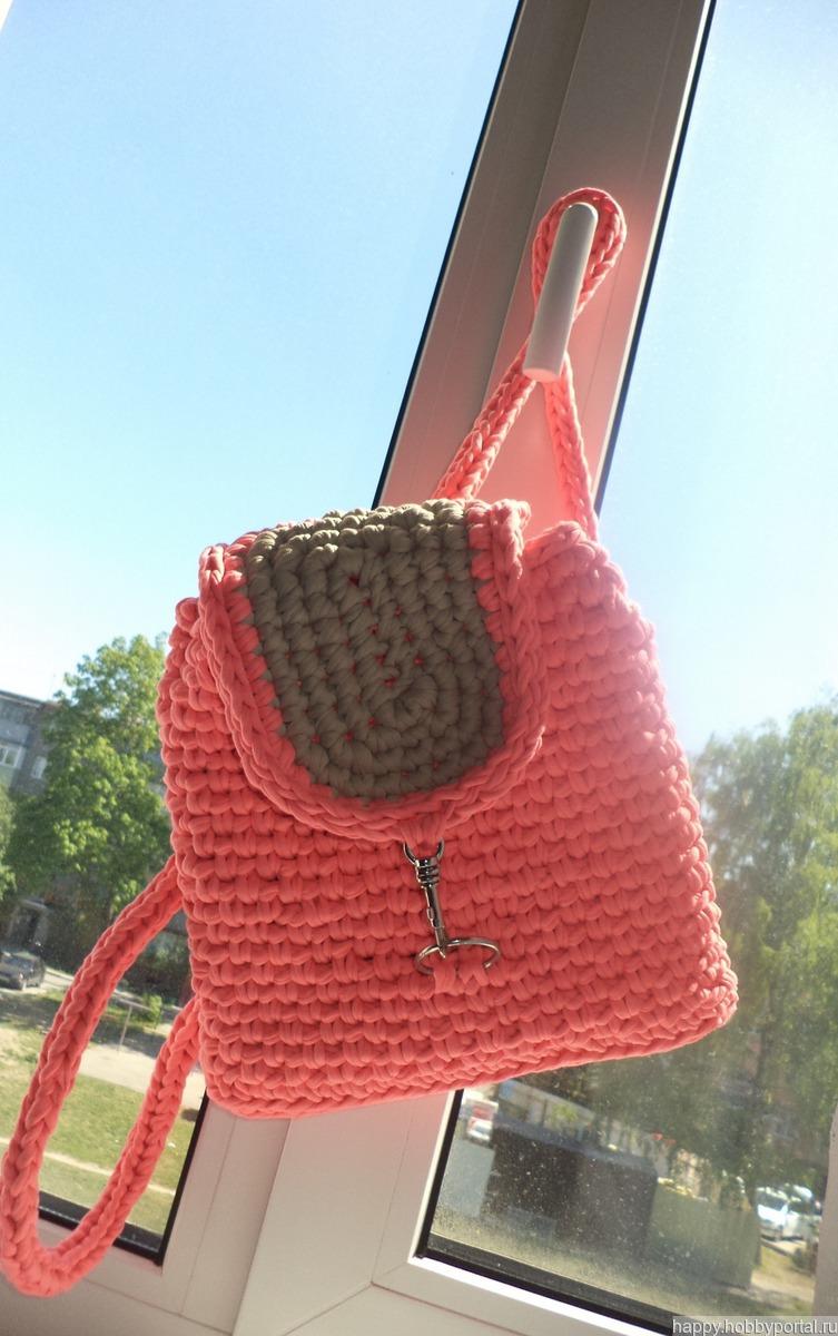 рюкзак из трикотажной пряжи крючком узором