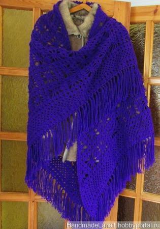 Шаль вязаная Хризантема, вязание крючком, ручной работы пряжа- объемный акрил размер - 274  см х 140 ручной работы на заказ