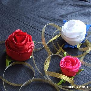 Роза канзаши из цельной атласной ленты. Видео мастер-класс
