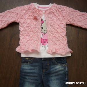Розовая кофточка для малышки 9-12 мес. Вязание спицами