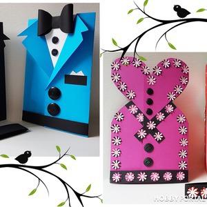 Делаем открытки: костюм для папы и платье для мамы