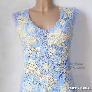 Кружевная вязаная блузка. Варианты цветового решения.