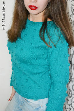 Вязаный свитер с пупырышками мастер класс