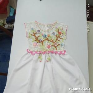 Создаем платье для девочки комбинированного типа (крючок + ткань)