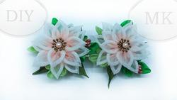 Зажимы (заколки) с цветами из градиентной органзы