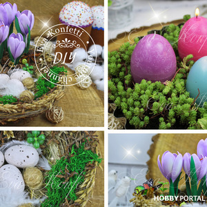 Декоративное гнездо и свечи в виде яиц на Пасху своими руками