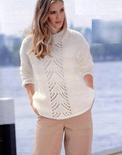 Это невероятно просто! Очень красивый, нежный, нарядный джемпер спицами, а как легко вяжется!