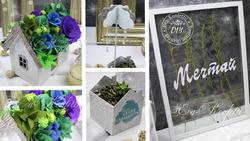 Идеи декора: домик с суккулентами, прозрачная картина с сухоцветами и т. д.