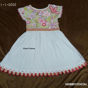 Платье комбинированного типа (ирландское кружево+ткань) для девочки
