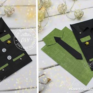 Красивая ОТКРЫТКА РУБАШКА с галстуком и пиджаком своими руками (КОСТЮМЧИК)