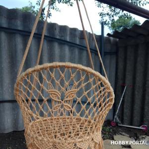 Подвесное садовое круглое кресло (качели) в технике макраме