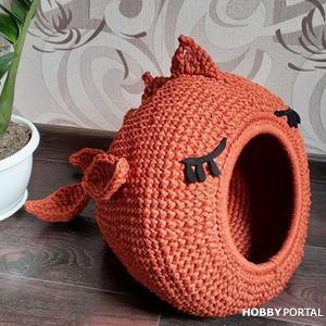 Удивительные вязаные домики лежанки для кота крючком - идеи для вязания и вдохновения