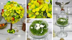 Пасхальный топиарий и гнездо в стеклянном клоше