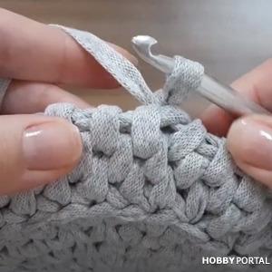 Узор РОТАНГ крючком из трикотажной пряжи круговыми рядами