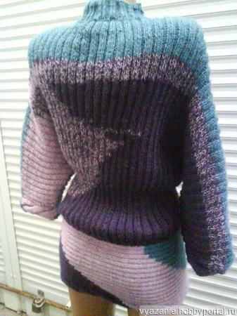 Вязаное платье-туника ручной работы на заказ