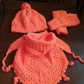 Зимний комплект: шапка, бактус, митенки
