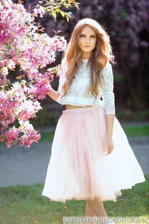 Фатиновая юбка нежно розового цвета ручной работы на заказ