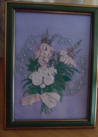 "Вышивка ""Букет цветов"" ручной работы на заказ"