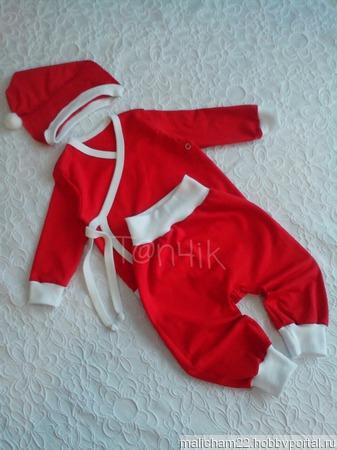 """Комплект для новорожденного """"Новогодний"""" ручной работы на заказ"""