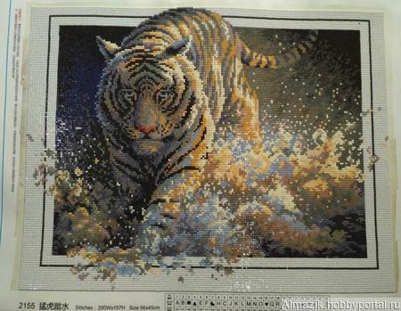 Алмазная вышивка - Тигр ручной работы на заказ
