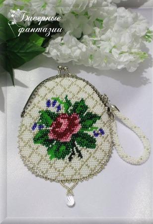 """Кошелек-монетница """"Античная роза"""" с вышивкой бисером ручной работы на заказ"""