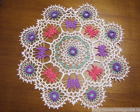Салфетка с бабочками и цветами ручной работы на заказ