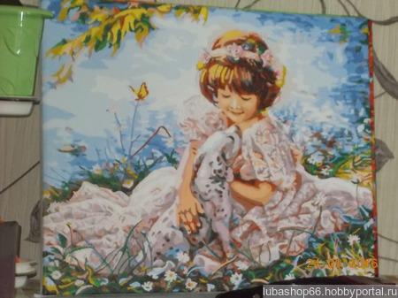 Девочка с долматинцем ручной работы на заказ
