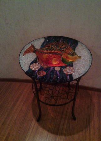 Витражный столик ручной работы на заказ