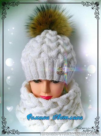 Теплая шапочка и снуд ручной работы на заказ