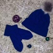 Синие шапка и варежки