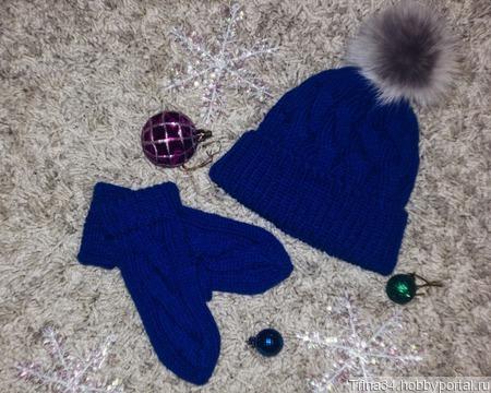 Синие шапка и варежки ручной работы на заказ