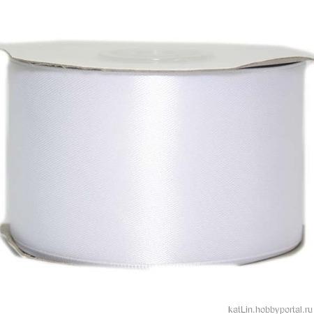 Атласная лента белая ручной работы на заказ